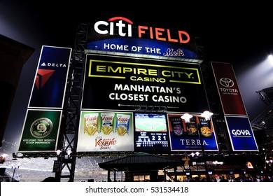 New York, NY, USA - September 20, 2016: Citi Field in Night : Home of major league baseball team the New York Mets.