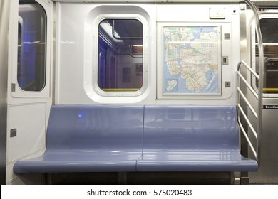 New York, NY, USA - September 6, 2016: Inside of New York Subway: Seats and inside of empty car: The NYC Subway is one of the oldest and most extensive public transportation systems in the world.