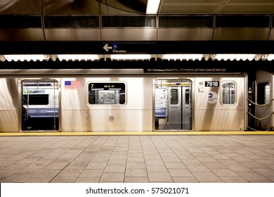 New York, NY, USA - September 6, 2016: New York Subway: 7 train : The NYC Subway is one of the oldest and most extensive public transportation systems in the world.