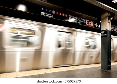 New York, NY, USA - September 6, 2016: Subway runs at Times Square–42nd Street/Port Authority Bus Terminal. The NYC Subway is one of the oldest and most extensive public transportations in the world.