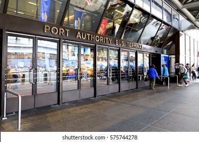 New York, NY, USA - September 6, 2016: Port Authority Bus Terminal: Facade of Port Authority Bus Terminal: The Port Authority Bus Terminal is the main gateway for interstate buses into Manhattan.