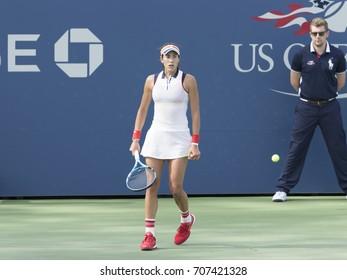 New York, NY USA - September 1, 2017: Garbine Muguruza of Spain reacts during match against Magdalena Rybarikova of Slovakia at US Open Championships at Billie Jean King National Tennis Center