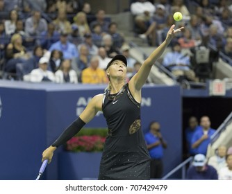 New York, NY USA - September 1, 2017: Maria Sharapova of Russia serves during match against Sofia Kenin of USA at US Open Championships at Billie Jean King National Tennis Center