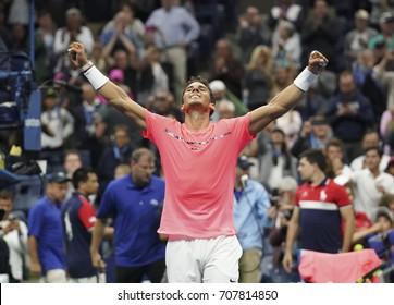 New York, NY USA - September 2, 2017: Rafael Nadal of Spain celebrates victory against Leonardo Mayer of Argentina during US Open Championships 2017 at Billie Jean King National Tennis Center