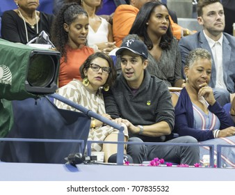 New York, NY USA - September 2, 2017: Vanessa Nadal & Lin Manuel Miranda attend US Open match between Roger Federer of Switzerland & Feliciano Lopez of Spain during US Open Championships 2017