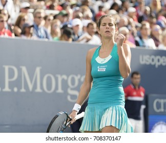 New York, NY USA - September 3, 2017: Julia Goerges of Germany reacts during match against Sloane Stephens of USA at US Open Championships at Billie Jean King National Tennis Center