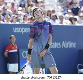 New York, NY USA - September 4, 2017: Andrey Rublev of Russia reacts during match against David Goffin of Belgium at US Open Championships at Billie Jean King National Tennis Center