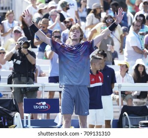 New York, NY USA - September 4, 2017: Andrey Rublev of Russia celebrates victory against David Goffin of Belgium at US Open Championships at Billie Jean King National Tennis Center