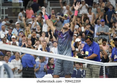New York, NY USA - September 4, 2017: Juan Martin del Potro celebrates victory against Dominic Thiem of Austria at US Open Championships at Billie Jean King National Tennis Center
