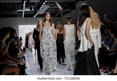 New York, NY, USA - September 7, 2017: Models walk runway for the Noon by Noor Spring/Summer 2018 runway show during New York Fashion Week at Skylight Clakcson Sq., Manhattan