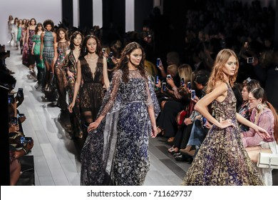 New York, NY, USA - September 7, 2017: Models walk runway for the Tadashi Shoji Spring/Summer 2018 runway show during New York Fashion Week at Skylight Clarkson Sq., Manhattan