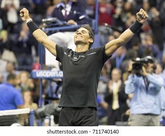 New York, NY USA - September 8, 2017: Rafael Nadal of Spain celebrates victory against Juan Martin del Potro of Argentina at US Open Championships at Billie Jean King National Tennis Center