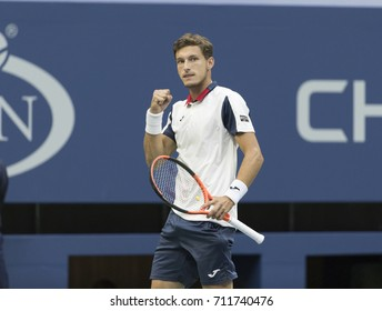 New York, NY USA - September 8, 2017: Pablo Carreno Busta of Spain reacts during match against Kevin Anderson of South Africa at US Open Championships at Billie Jean King National Tennis Center