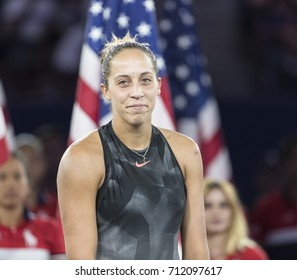 New York, NY USA - September 9, 2017: Madison Keys on court after loosing women championship at US Open tennis tournament at Billie Jean King National Tennis Center