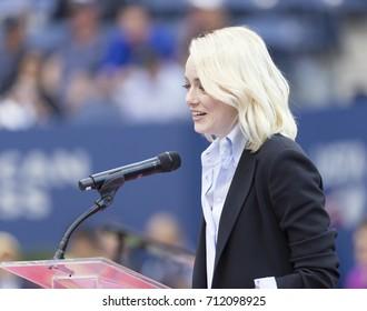 New York, NY USA - September 9, 2017:Emma Stone attends women final at US Open tennis tournament between Madison Keys & Sloane Stephens at Billie Jean King National Tennis Center
