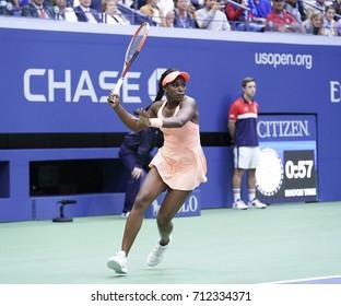 New York, NY USA - September 9, 2017: Sloane Stephens returns ball duirng women final against Madison Keys at US Open tennis tournament at Billie Jean King National Tennis Center