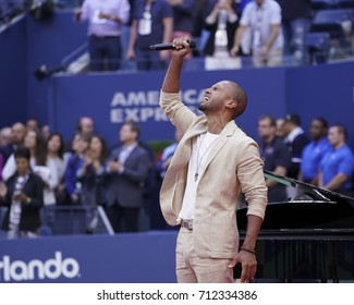 New York, NY USA - September 9, 2017: Sydney James Harcourt performs America the Beautiful for women final at US Open tennis tournament at Billie Jean King National Tennis Center