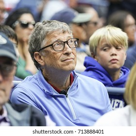 New York, NY USA - September 8, 2017: Bill Gates attends day 12 of US Open Championships at Billie Jean King National Tennis Center