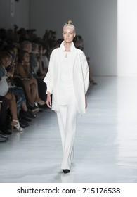 New York, NY USA - September 13, 2017: Model walks runway for Zang Toi fashion show during New York Fashion WeekSpring/Summer 2018 at Skylight Clarkson