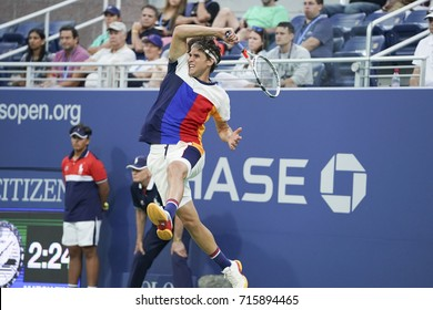 New York, NY USA - September 4, 2017: Dominic Thiem of Austria returns ball during match against Juan Martin del Potro of Argentina at US Open Championships at Billie Jean King National Tennis Center