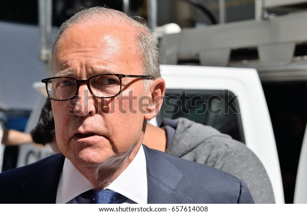 NEW YORK, NY, USA - SEPTEMBER 15, 2016: Larry Kudlow economist journalist and conservative commentator prepares to go on camera with CNBC after a Trump speech at the Economic Club of New York.
