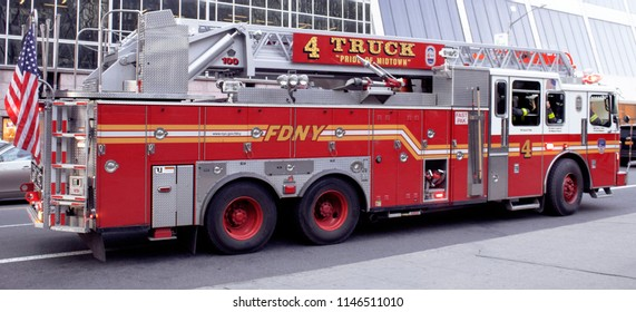 New York, NY USA-April 18, 2018 FDNY Fire Truck on 42nd Street in Manhattan