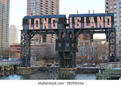 NEW YORK, NY, USA-DEC 16: Sign of LONG ISLAND at Long Island City, December 16, 2013