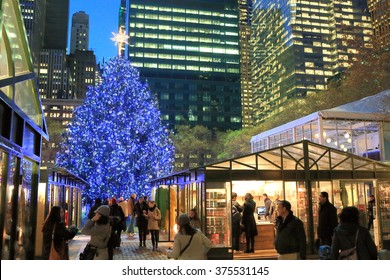 NEW YORK, NY, USA-DEC 6: Christmas tree and markets in Bryant park, December 6, 2012