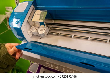 New York NY USA-February 23, 2020 A craftsperson browses Cricut products in a craft store in New York  Cricut has filed to raise $100 million via an IPO