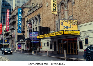 New York NY USA-February 27, 2021 Closed Broadway theaters, including the Golden Theatre, in New York because of the COVID-19 pandemic