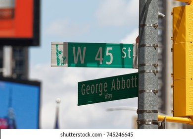 New York, NY, USA-May 10, 2017: Raod signs at Times Square, NYC