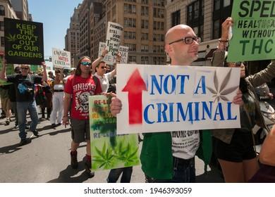 New York NY USA-May 4, 2013 Advocates for the legalization of marijuana march in New York