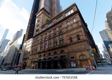 New York, NY, USA-May 7, 2017: New York cityscape, Carnegie Hall in Manhattan