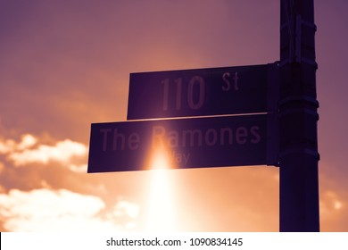 New York, NY, USA-November 7, 2016 :The Ramones Way: The Ramones way in Forest Hills, Queens was named by celebrated punk band The Ramones.