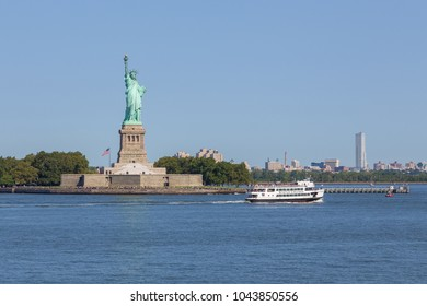 New York, NYC- August 26, 2017: Panoramic view of New york statue of liberty from the Staten Island public ferry.