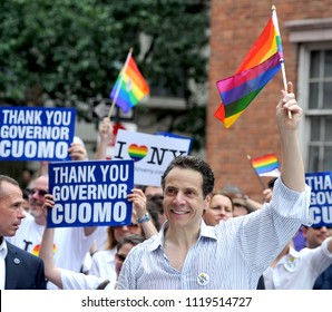 NEW YORK, NY-JUNE 2018: Governor of New York Andrew Cuomo marches in the Gay Pride Parade in 2013.