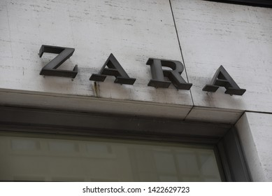 New York, NY/United States- 04/28/2019: A look at the exterior of Zara's flagship store on New York's Fifth Avenue