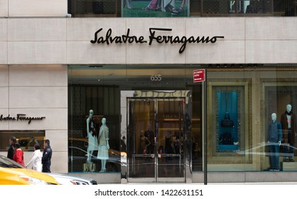 New York, NY/United States- 04/28/2019: A look at the exterior of a Salvatore Ferragamo's flagship retail store on Fifth Avenue