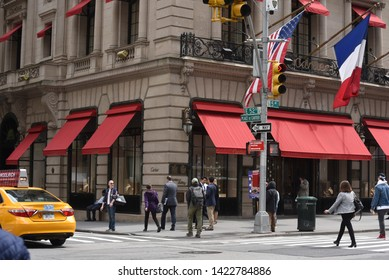 New York, NY/United States- 04/28/2019: A look at the exterior of Cartier's flagship store on Fifth Avenue in Manhattan.