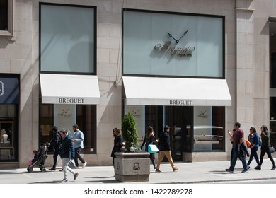 New York, NY/United States- 04/28/2019: A look at the exterior of  Breguet's flagship store on Fifth Avenue in Manhattan