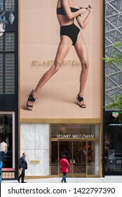 New York, NY/United States- 04/28/2019: The exterior of Stuart Weitzman's flagship store on Fifth Avenue.