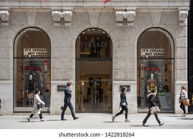 New York, NY/United States- 04/28/2019: The flagship store of Versace on Fifth Avenue in Manhattan