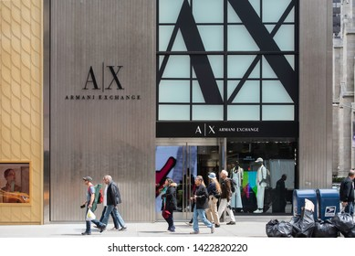 New York, NY/United States- 04/28/2019: Exterior of Armani's flagship store on 5th Avenue in New York