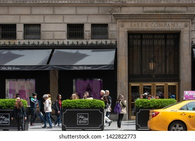 New York, NY/United States- 04/28/2019: The flagship store of Saks Fifth Avenue in New York