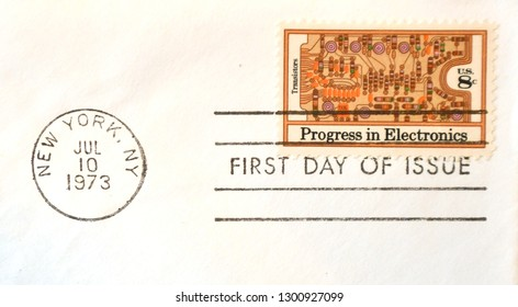 New York, NY/United States - 7/10/1973: Progress in Electronics - Transistors stamp designed by Walter & Naiad Einsel, printed by Bureau of Engraving & Printing, cancelled on first day of issue
