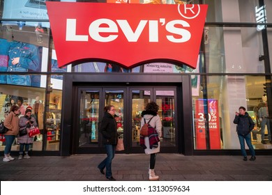 New York NY/USA February 13, 2019 The Levi Strauss and Co.'s flagship store in Times Square in New York