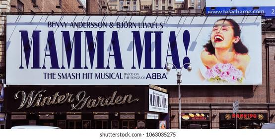 New York, NY/USA - Jun. 9, 2011: Giant billboard advertisement for MAMMA MMIA!, Manhattan, New York, NY.