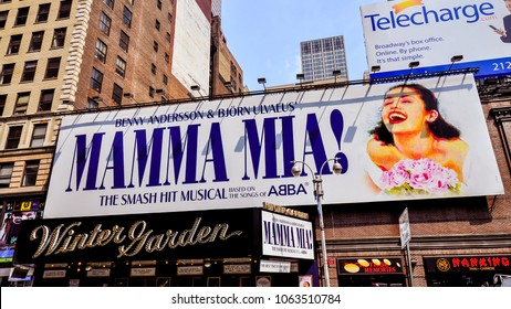 New York, NY/USA - Jun. 9, 2011: Giant billboard advertisement for MAMMA MMIA!, Manhattan, New York, NY.