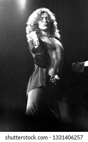 New York, NY/USA - June 14, 1977: Singer Robert Plant of Led Zeppelin performs at Madison Square Garden on their 1977 North American tour.