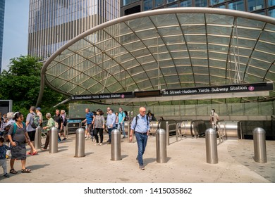 New York NY/USA June 2, 2019 The 34th Street-Hudson Yards terminal on the 7 Subway line extension in New York disgorges hordes of tourist on their way to Hudson Yards